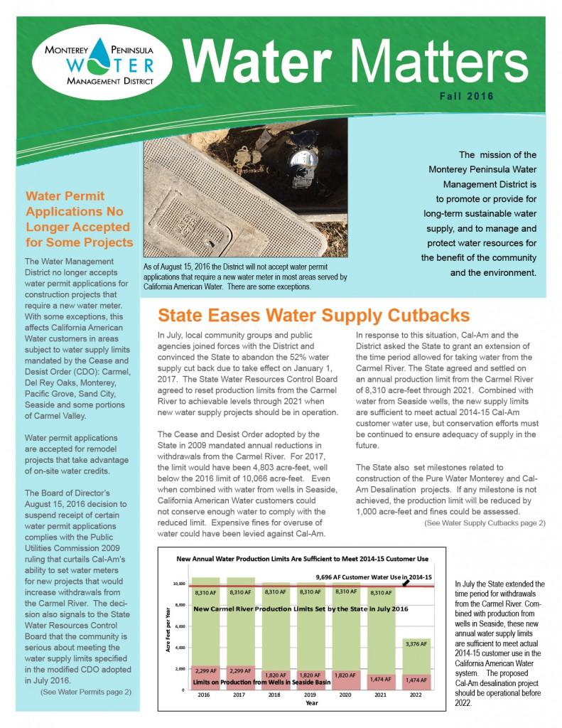 Fall 2016 MPWMD Water Matters Page 1