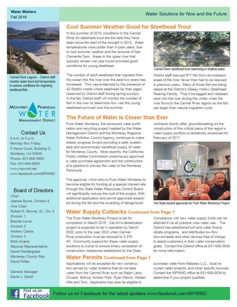 Fall 2016 Water Matters Newsletter Page 2